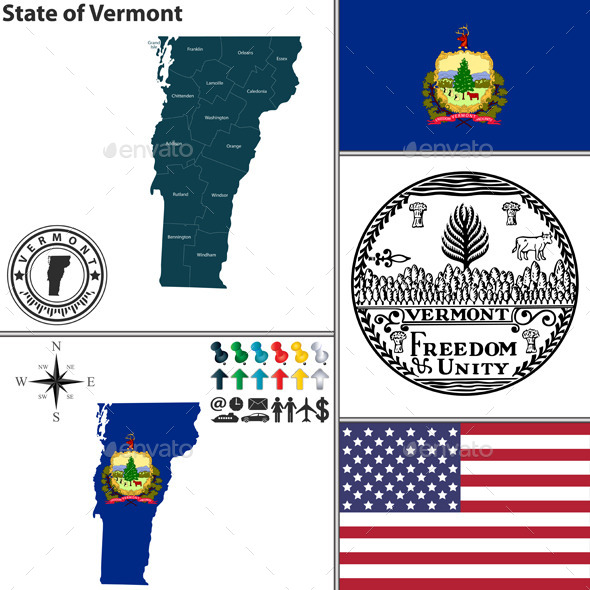 GraphicRiver Map of State Vermont USA 9928284