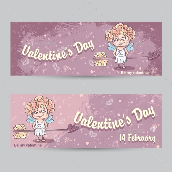 GraphicRiver Set of Horizontal Greeting Cards for Valentine s Day 9928425