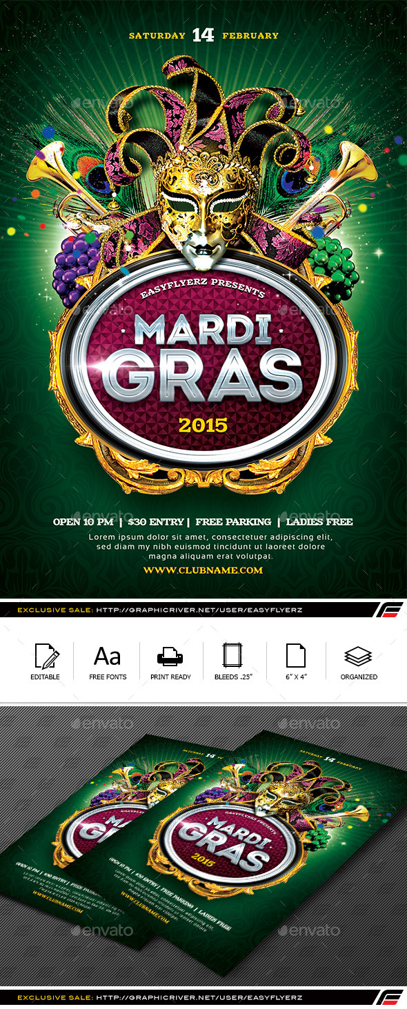 Mardi Gras 2015 Flyer Template