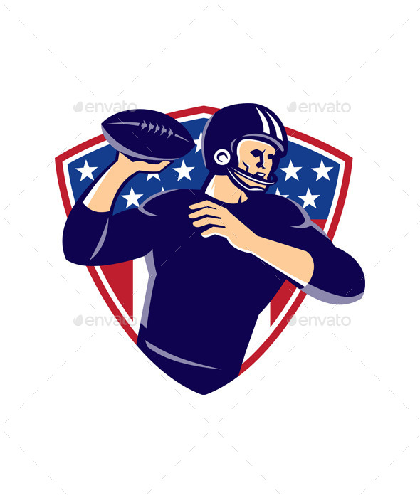 GraphicRiver American Quarterback Football Player Shield 9928864