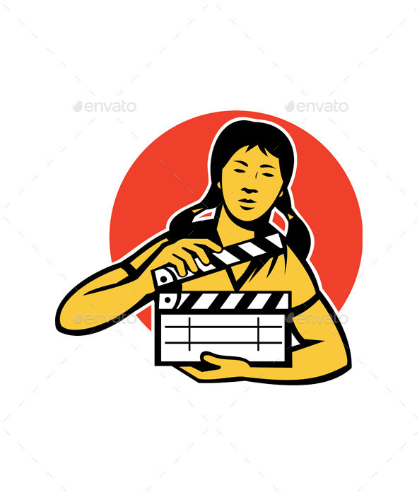 GraphicRiver Asian Woman with Movie Clapboard 9929054
