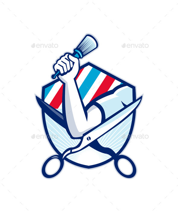 GraphicRiver Barber Hand Holding Brush Shield 9929086