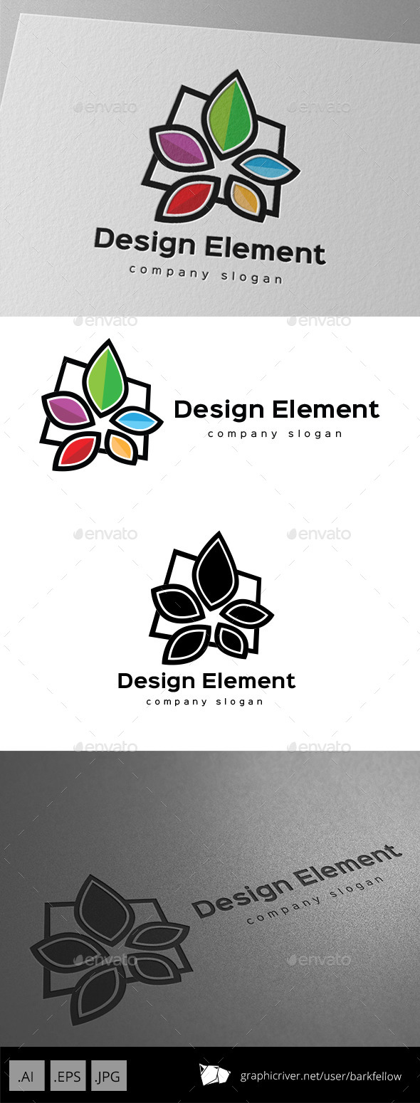 GraphicRiver Five Color Element Flower Logo 9929170