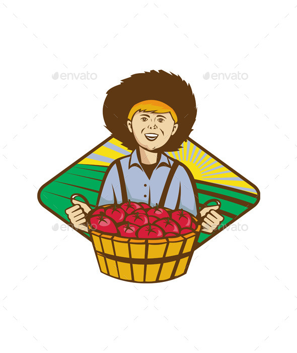 GraphicRiver Farmer Boy Straw Hat Tomato Harvest 9929226