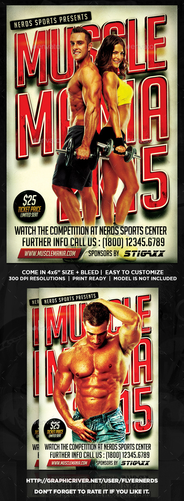 GraphicRiver Muscle Mania 2K15 Sports Flyer 9929227
