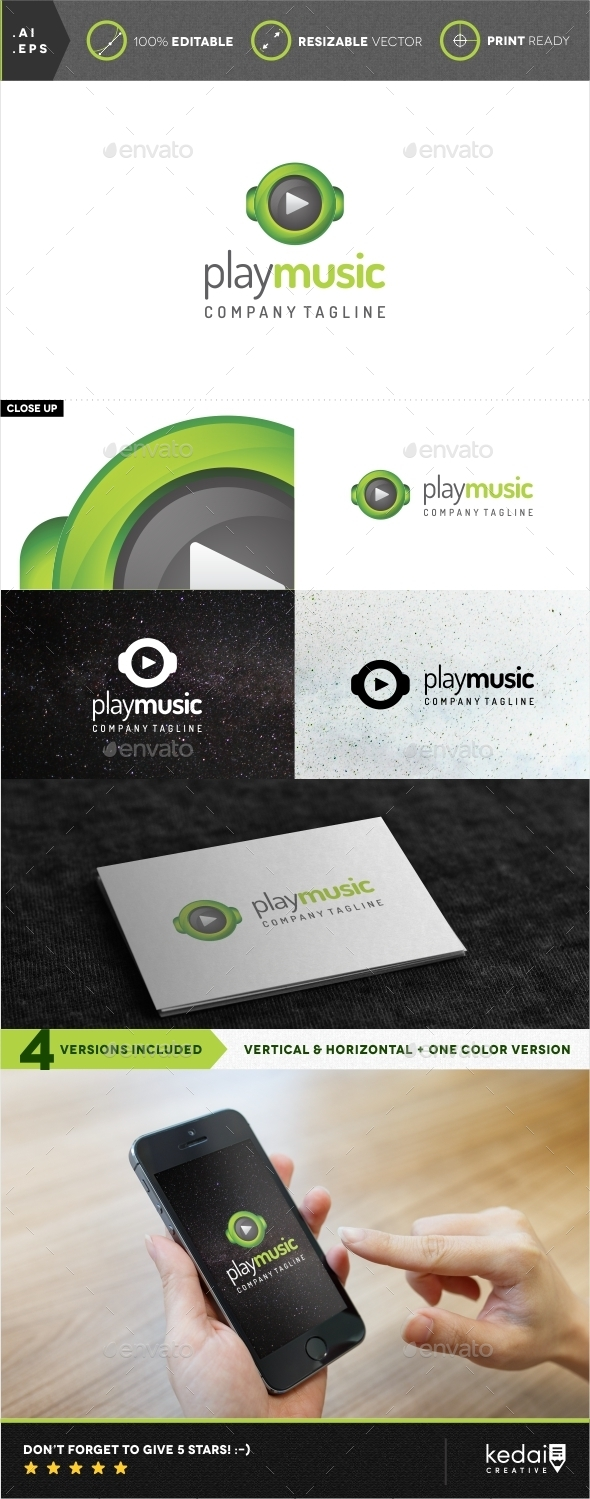 GraphicRiver Play Music Logo Template 9928196