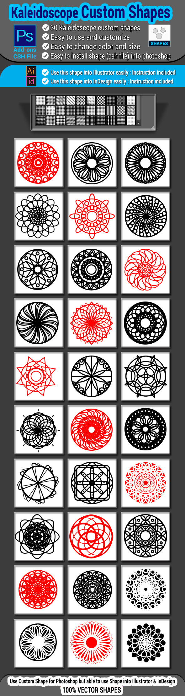 GraphicRiver Kaleidoscope Custom Shapes 9929739