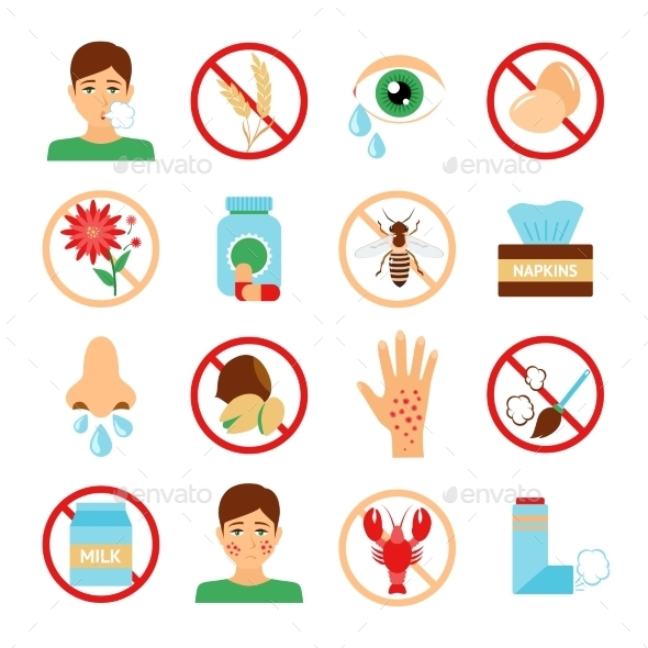 GraphicRiver Allergy Icons Set 9930017
