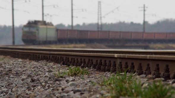 Wheels of Freight Train Running
