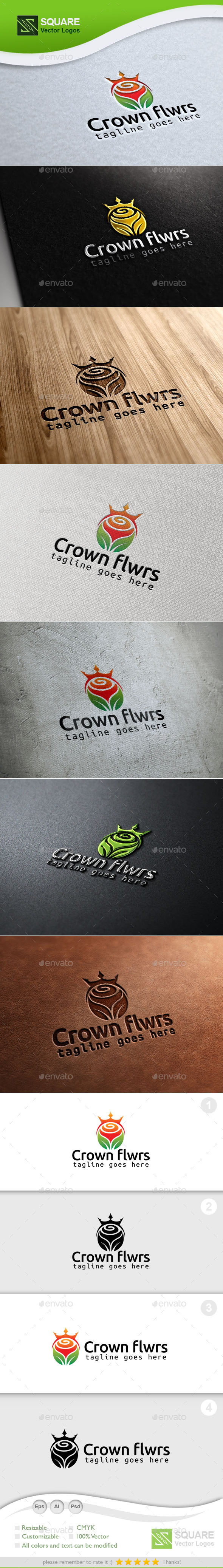 GraphicRiver Crown Flower Custom Logo Template 9930468
