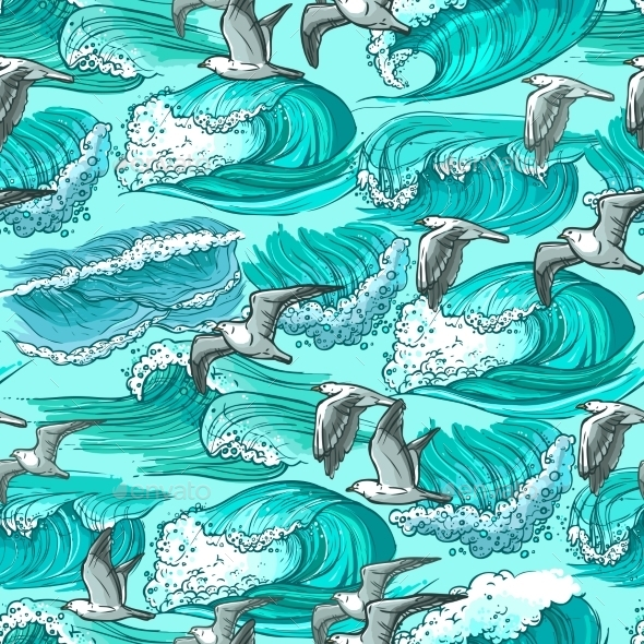 GraphicRiver Sea Waves Seamless Pattern 9930480