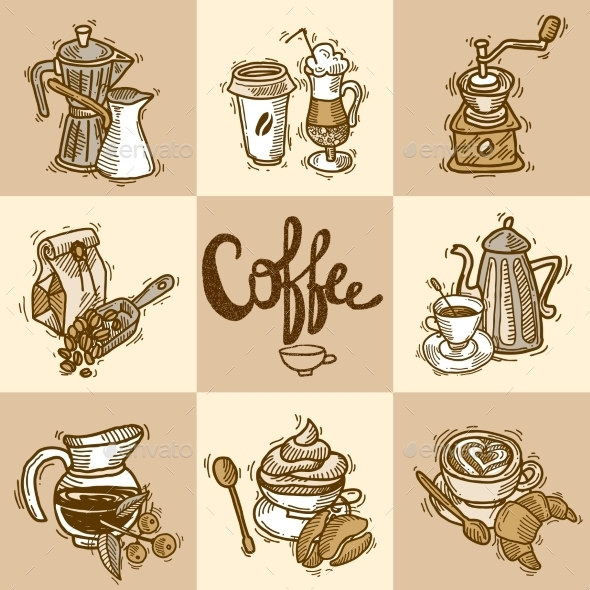 GraphicRiver Coffee Decorative Set 9930488