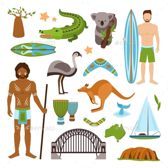 GraphicRiver Australia Icons Set 9930490