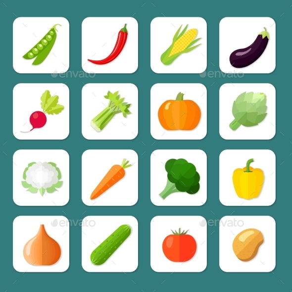 GraphicRiver Vegetables Icon Flat 9930492