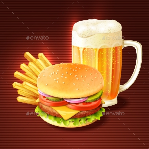 GraphicRiver Hamburger And Beer Background 9930508