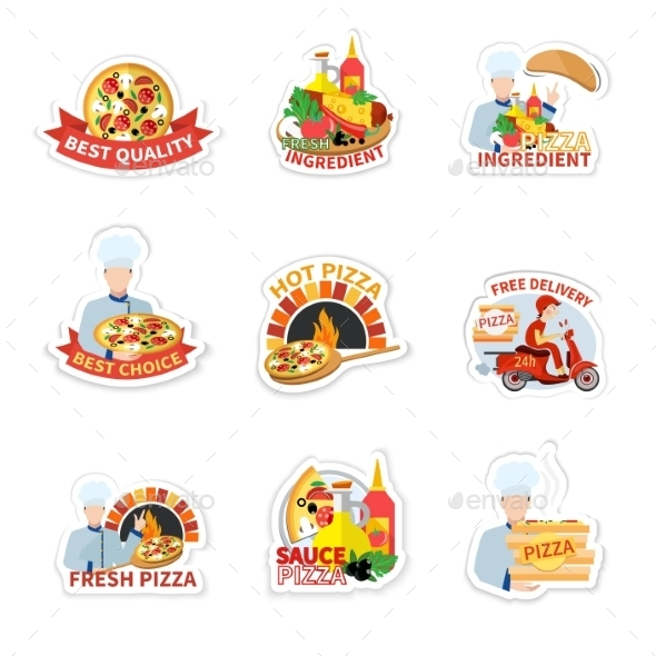 GraphicRiver Pizza Label Set 9930526