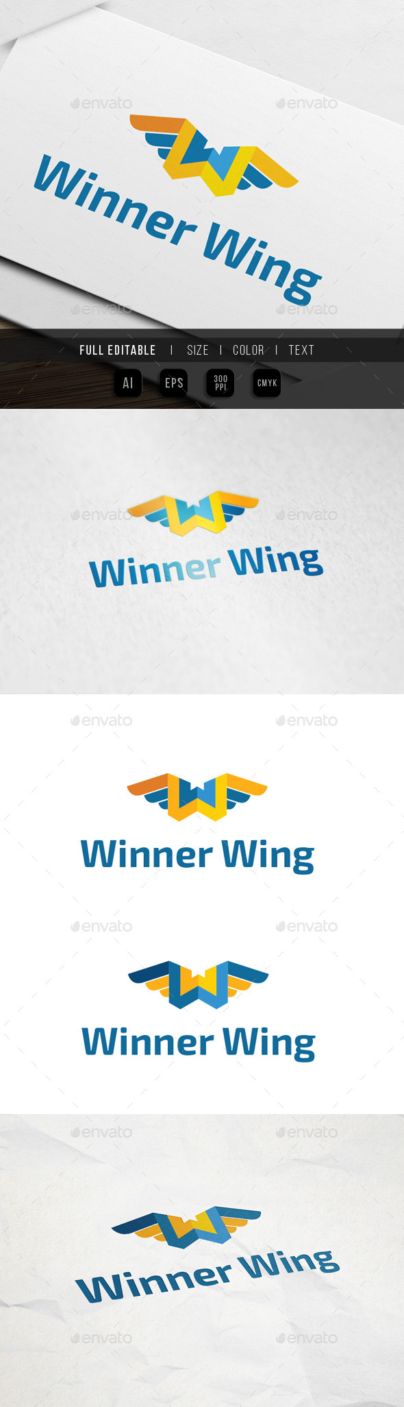 GraphicRiver Letter W Fly Wing Logo 9930649