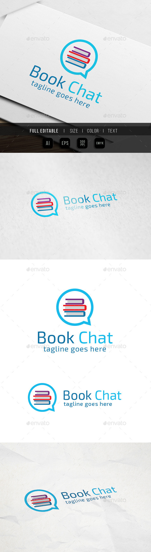 GraphicRiver Book Chat Logo 9931338