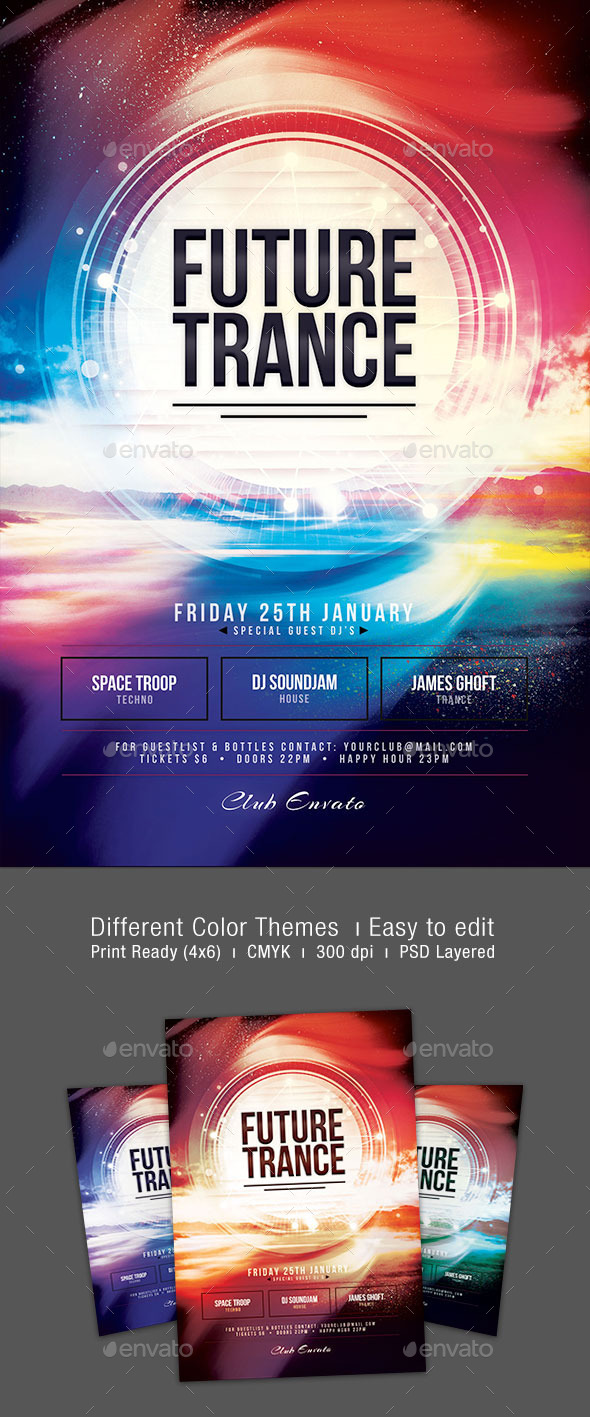 GraphicRiver Future Trance Flyer 9934315