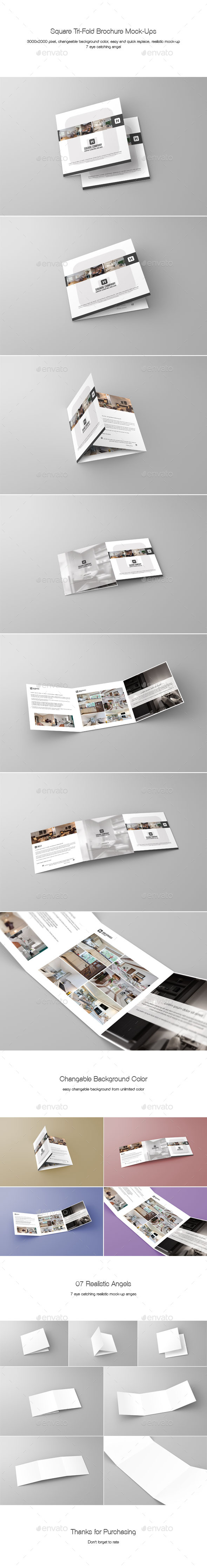 GraphicRiver Square Tri-Fold Brochure Mock-Ups 9935230