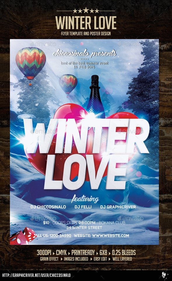 GraphicRiver Winter Love Flyer Template 9935606