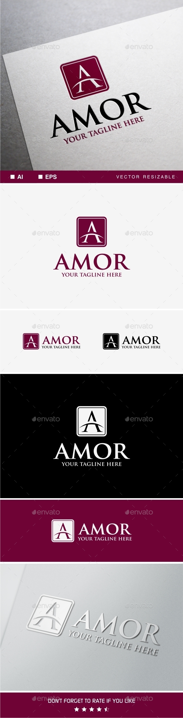 GraphicRiver Amor Logo A Letter Logo Template 9935630