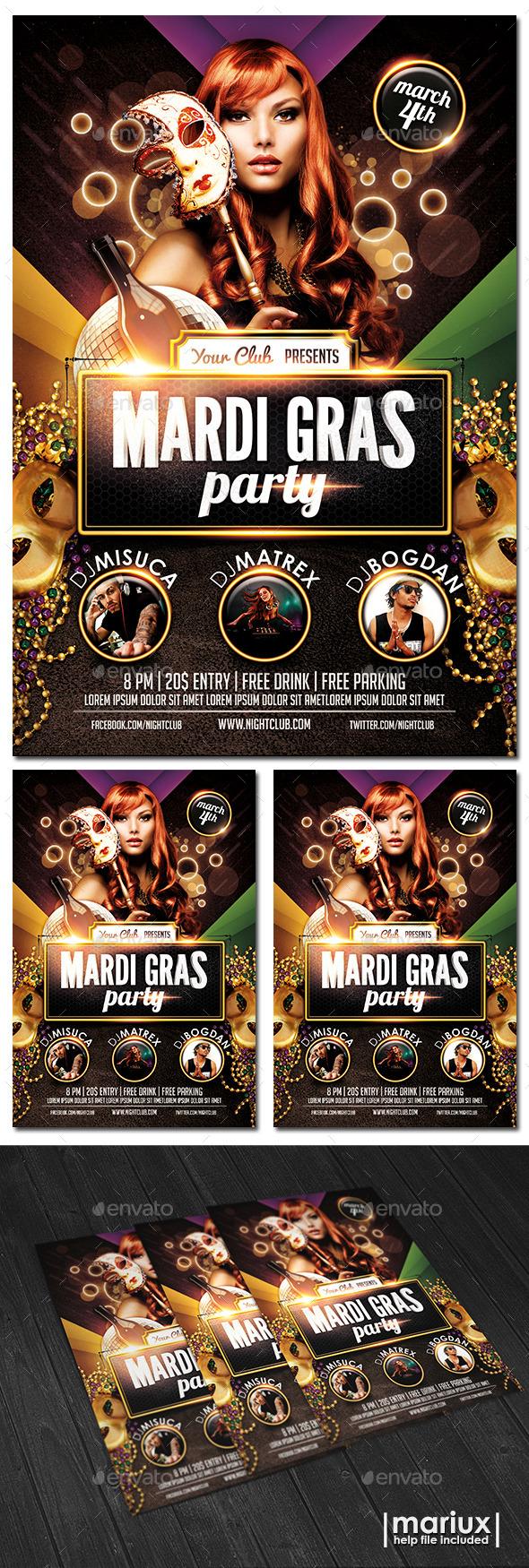 GraphicRiver Mardi Gras Party Flyer 9935776