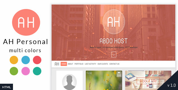ThemeForest AH Creative Personal Resume Template 9768390