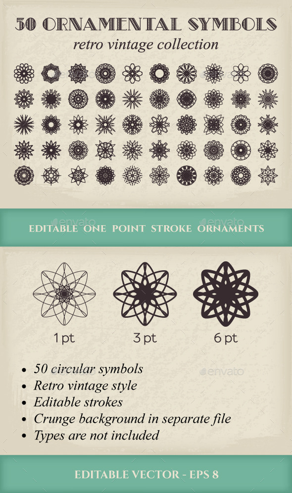 GraphicRiver 50 Vector Ornamental Symbols 9935799