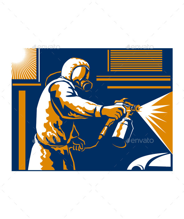 GraphicRiver Retro Spray Painter Painting Spraying 9935933