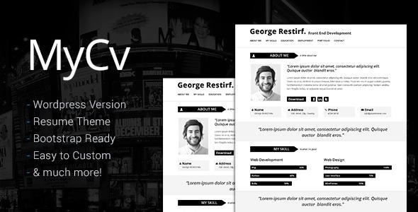 My Cv - Responsive And Retina WordPress theme / CV