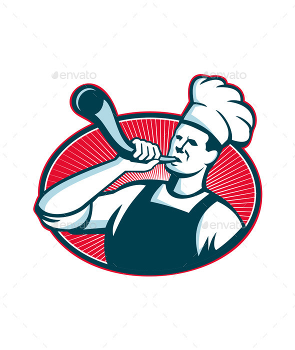 GraphicRiver Chef or Cook Blowing a Bullhorn 9936002