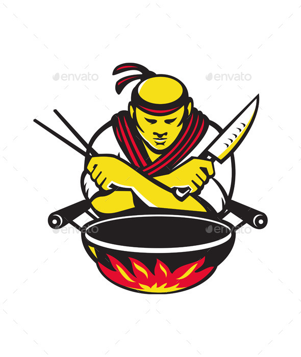 Japanese Cook with Knife Wok