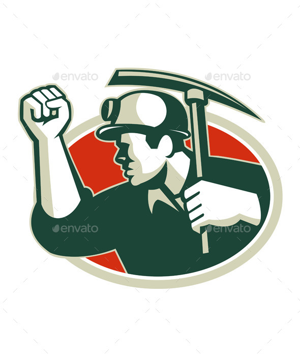 Coal Miner Pump Fist with Pick Ax Retro