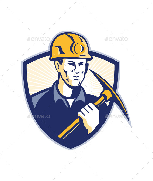GraphicRiver Coal Miner With Pick Axe Shield Retro 9936058