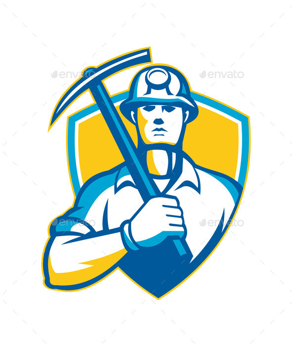 GraphicRiver Coal Miner with Pick Ax Shield Retro 9936078