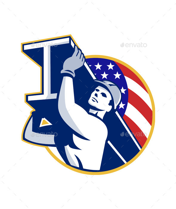GraphicRiver Construction Steel Worker I-Beam American Flag 9936098