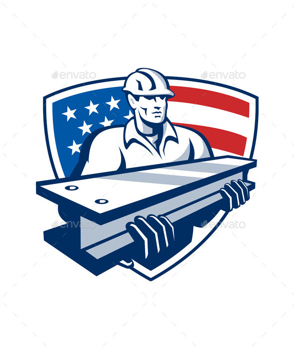 GraphicRiver Construction Steel Worker I-Beam American Flag 9936099