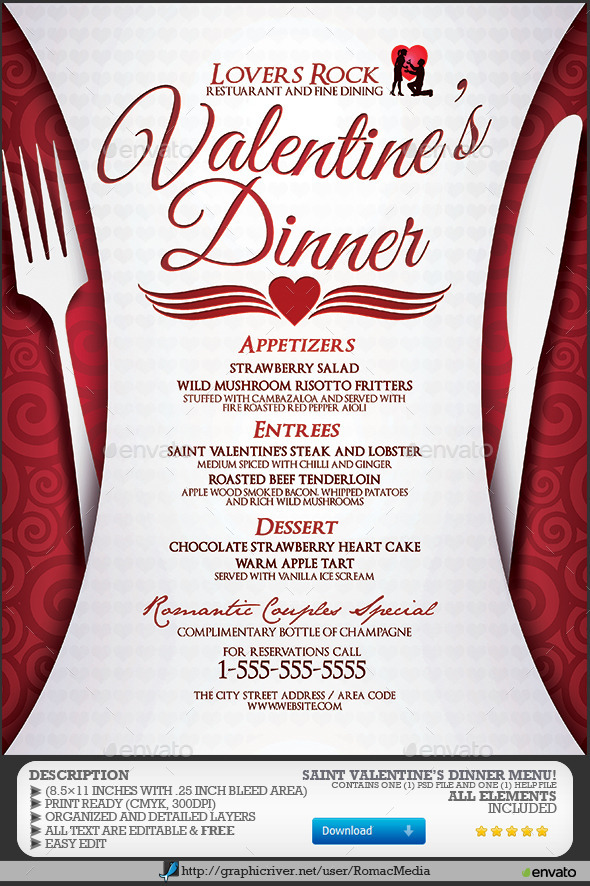 Valentine's Dinner Menu | GraphicRiver