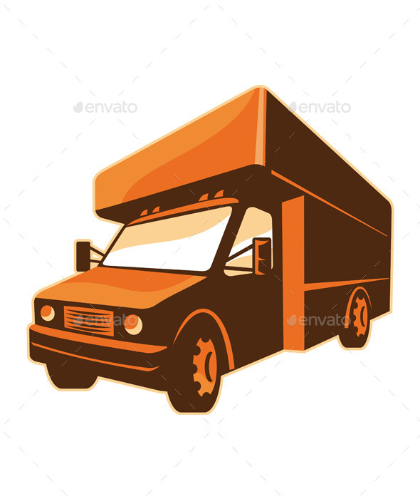 GraphicRiver Retro Moving Truck Delivery Van 9936213