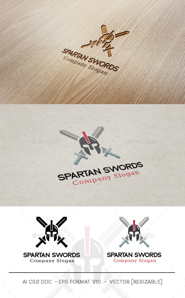GraphicRiver Spartan Swords Logo 9936266