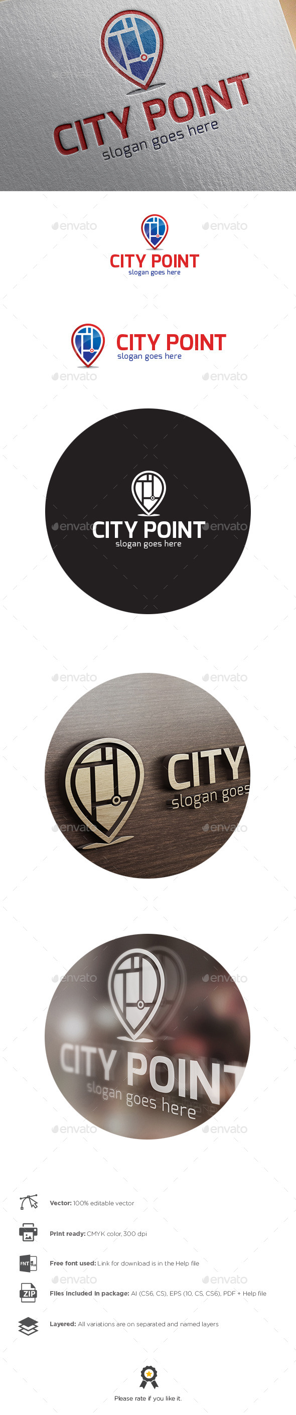 GraphicRiver City Point Logo 9936404