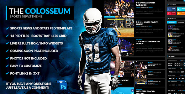 ThemeForest The Colosseum Sports Magazine PSD Template 9848578