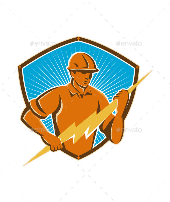 GraphicRiver Electrician Construction Worker Retro 9936465