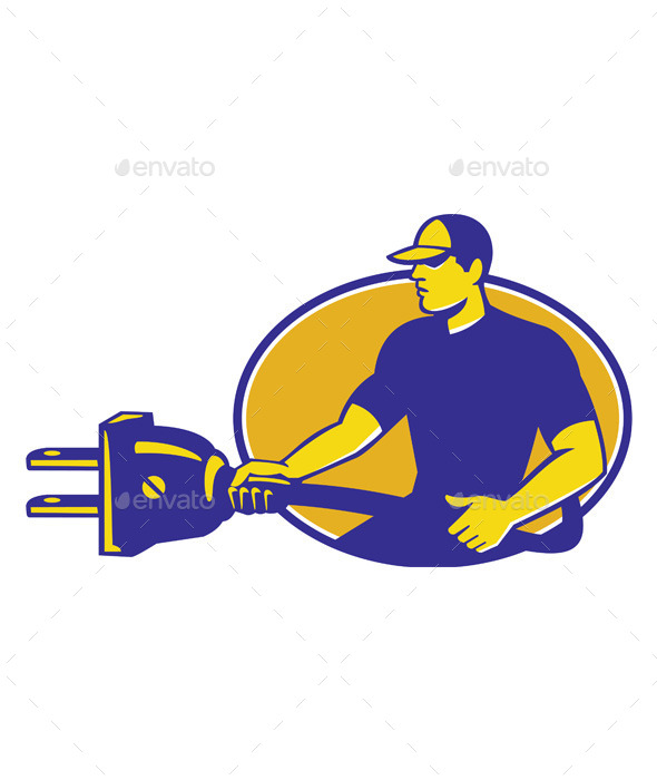 GraphicRiver Electrician Plugging Electric Plug 9936468