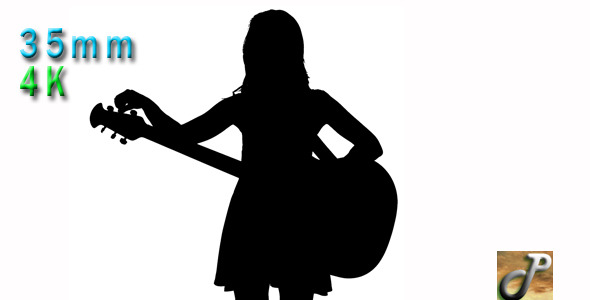 Silhouette Of Woman Playing The Guitar By Nyc Media Group