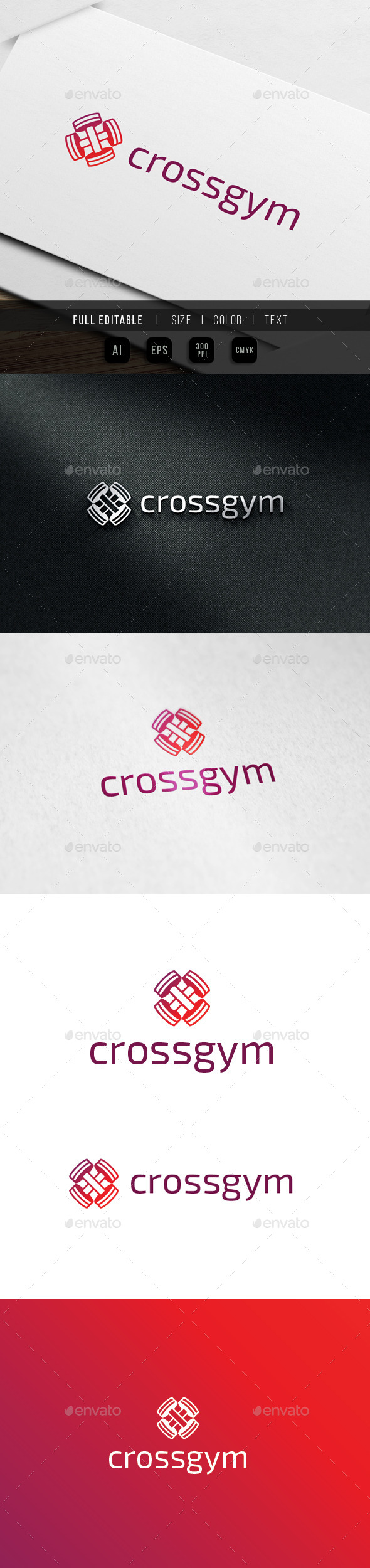 GraphicRiver Cross Gym Barbell Fitness Logo 9936596