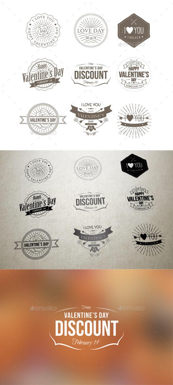GraphicRiver Badges Valentine Vintage 9936762