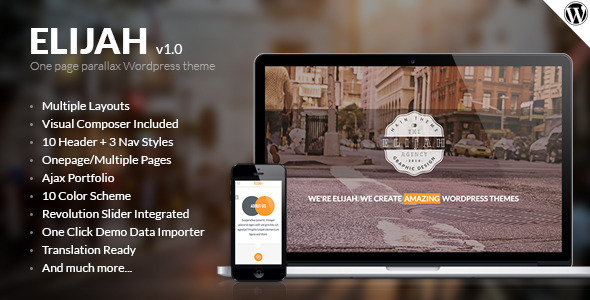 ThemeForest Elijah Onepage & Multi Layouts Wordpress Theme 9552679