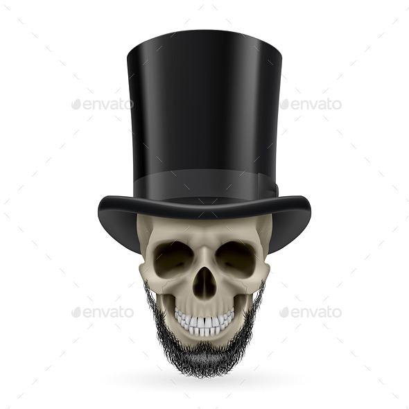 GraphicRiver Human Skull with Beard and Hat On 9937093